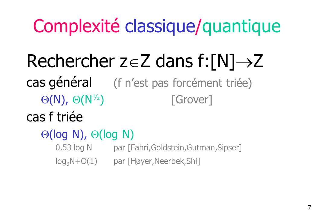 7 Complexité classique/quantique Rechercher z Z dans f:[N] Z cas général (f nest pas forcément triée) (N), (N ½ )[Grover] cas f triée (log N), (log N) 0.53 log N par [Fahri,Goldstein,Gutman,Sipser] log 3 N+O(1) par [Høyer,Neerbek,Shi]