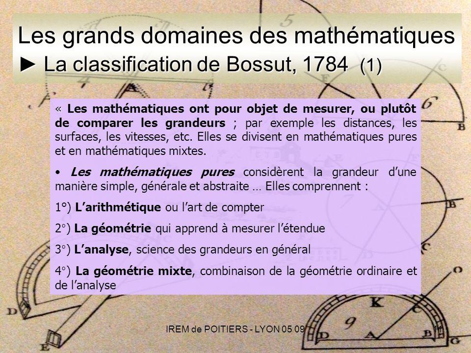IREM de POITIERS - LYON 05 0911 « « Les mathématiques ont pour objet de mesurer, ou plutôt de comparer les grandeurs ; par exemple les distances, les surfaces, les vitesses, etc.