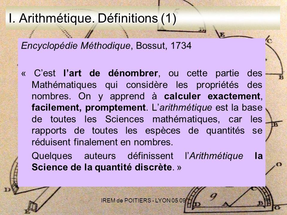 IREM de POITIERS - LYON 05 0913 I.Arithmétique.