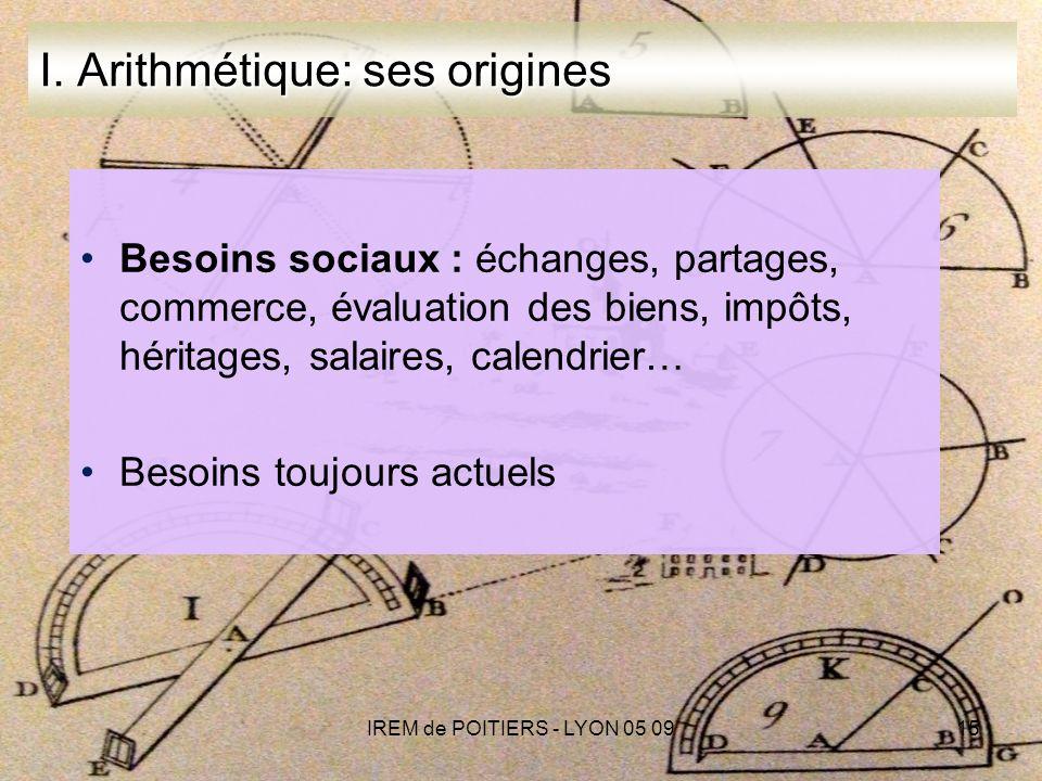 IREM de POITIERS - LYON 05 0915 I.