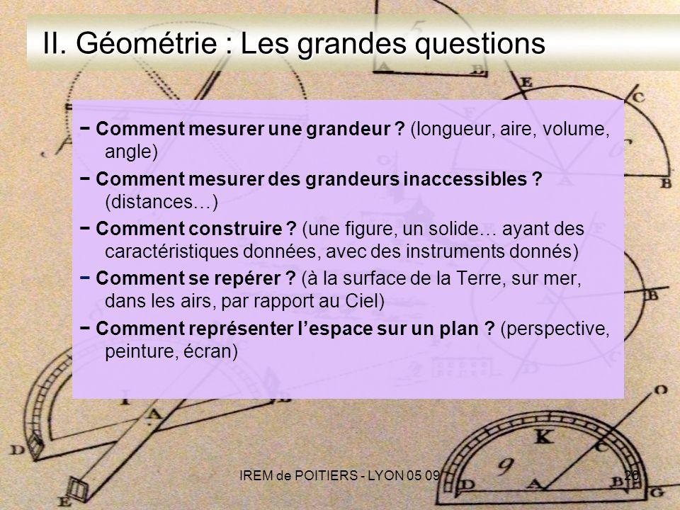 IREM de POITIERS - LYON 05 0920 II.Géométrie : Les grandes questions II.