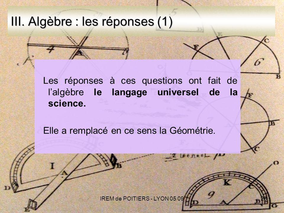 IREM de POITIERS - LYON 05 0926 III.