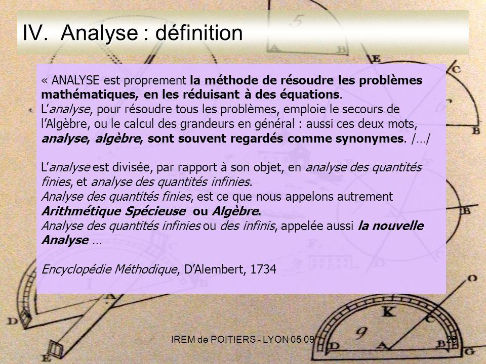 IREM de POITIERS - LYON 05 0928 IV.