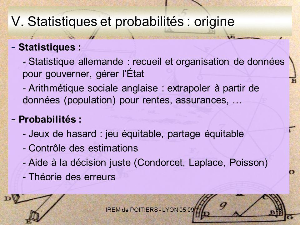 IREM de POITIERS - LYON 05 0933 V.