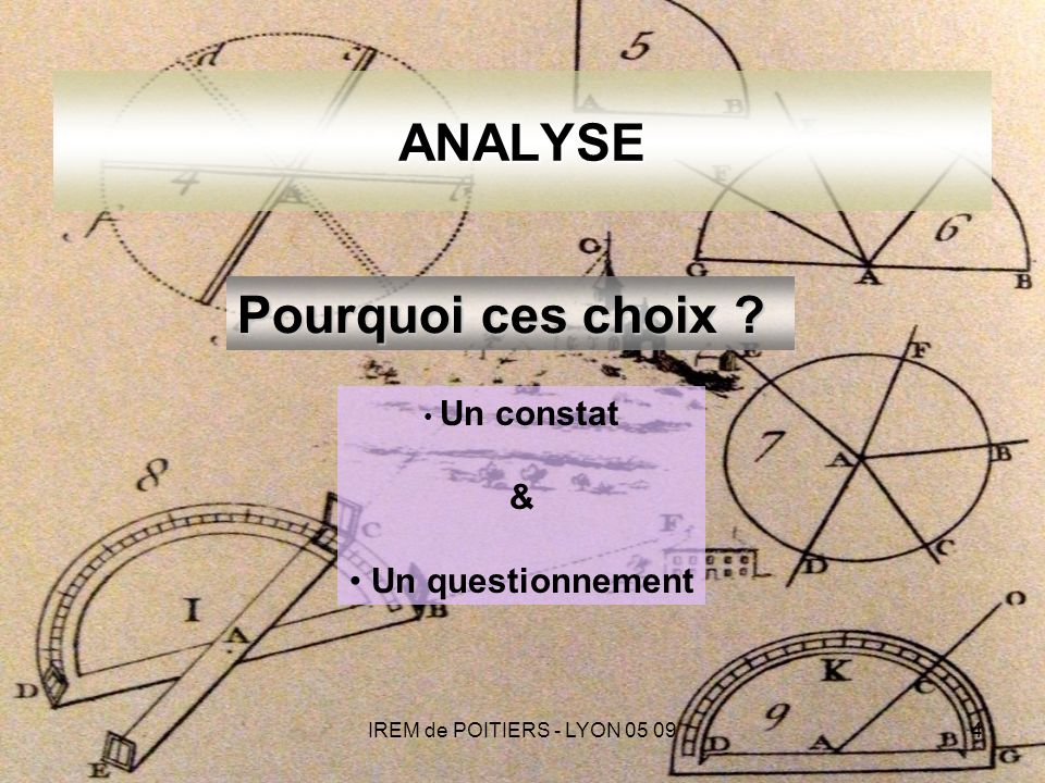 IREM de POITIERS - LYON 05 094 ANALYSE Un constat & Un questionnement Pourquoi ces choix ?