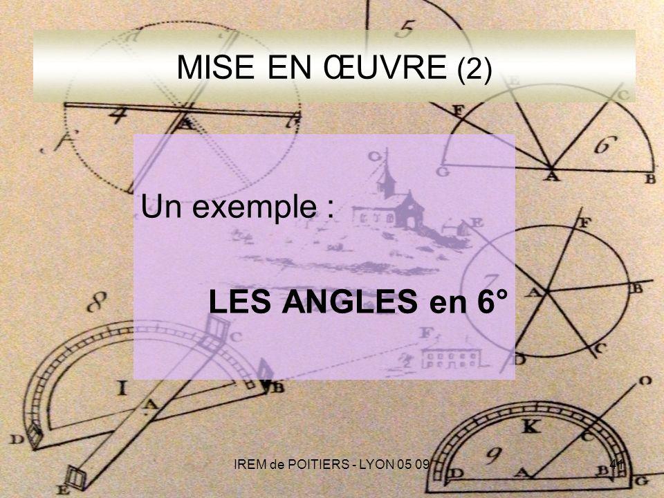 IREM de POITIERS - LYON 05 0941 MISE EN ŒUVRE (2) Un exemple : LES ANGLES en 6°