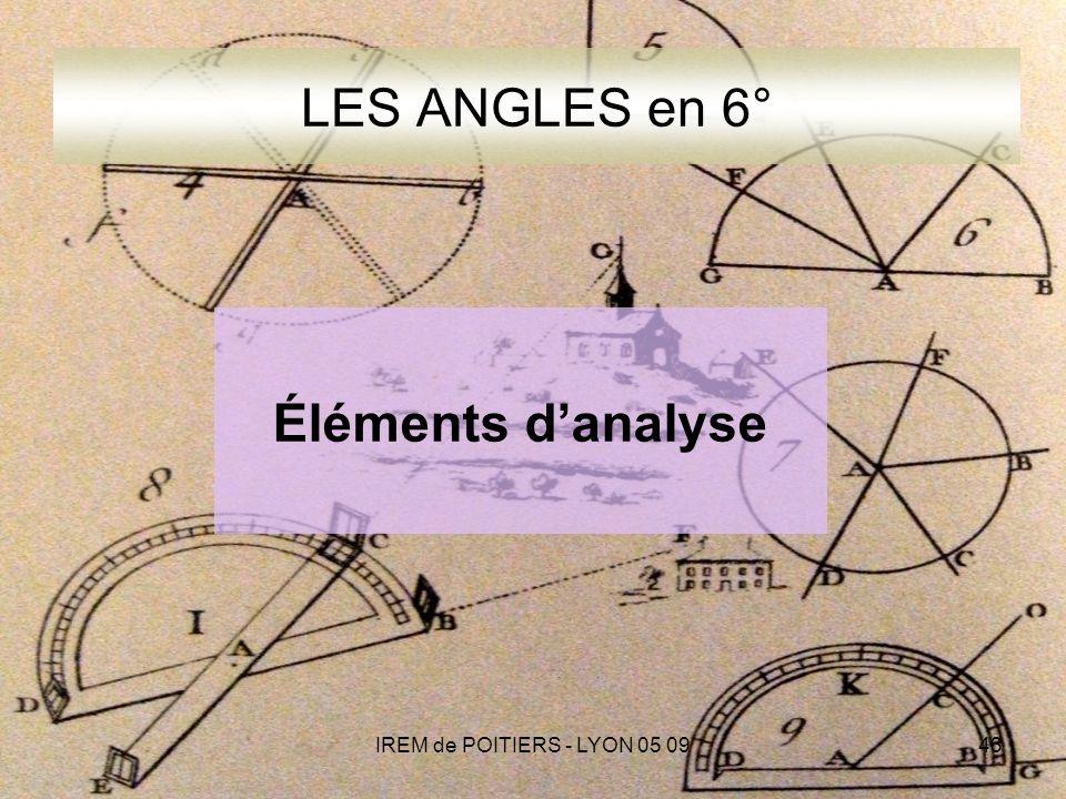 IREM de POITIERS - LYON 05 0943 LES ANGLES en 6° Éléments danalyse