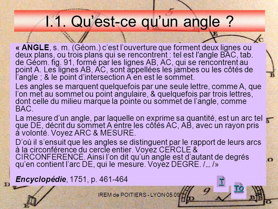 IREM de POITIERS - LYON 05 0945 I.1.Quest-ce quun angle .