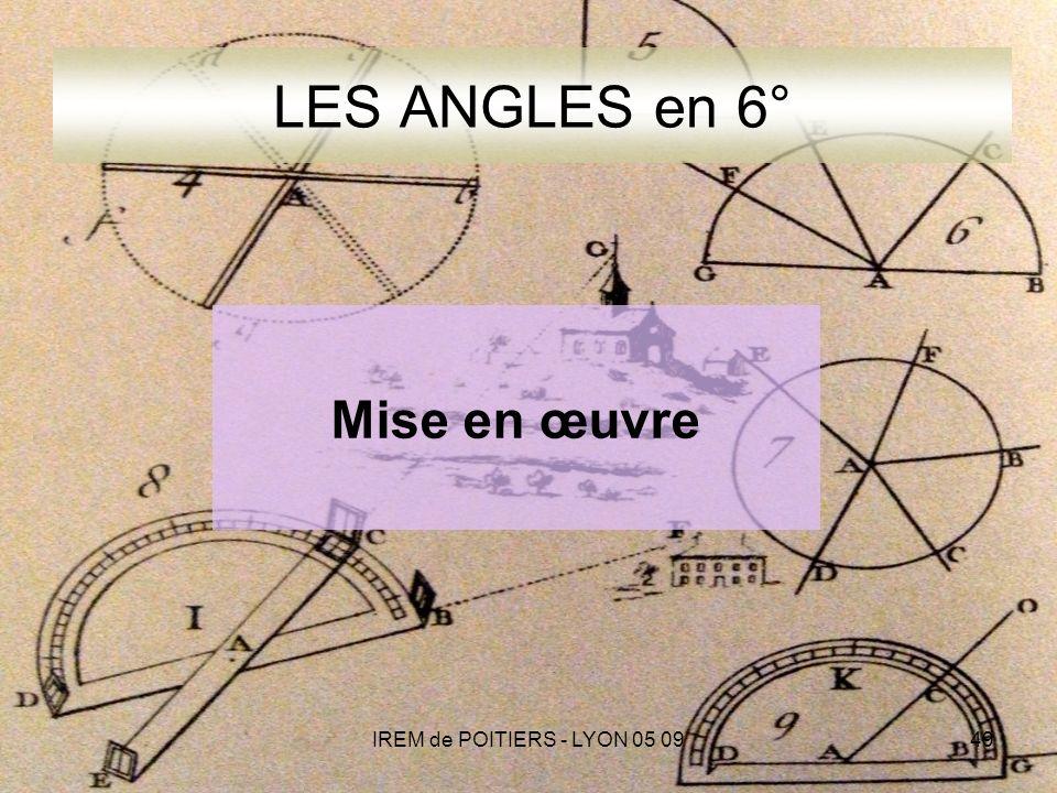 IREM de POITIERS - LYON 05 0949 LES ANGLES en 6° Mise en œuvre