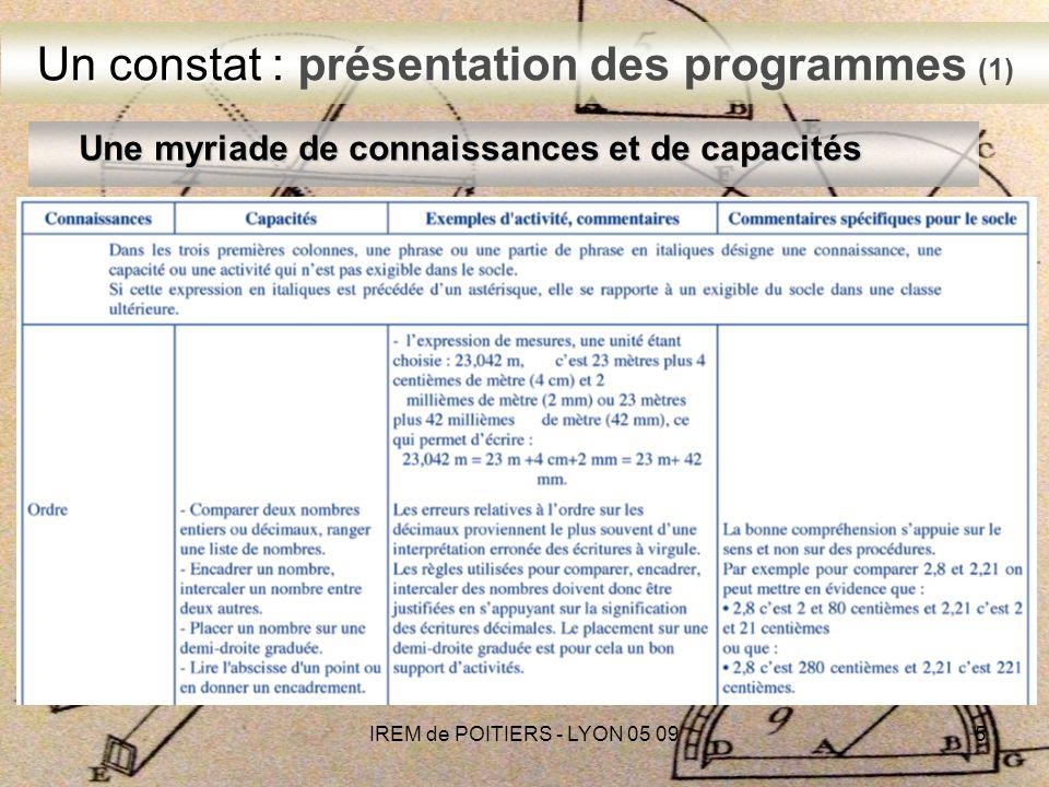 IREM de POITIERS - LYON 05 095 Une myriade de connaissances et de capacités Un constat : Un constat : présentation des programmes (1)