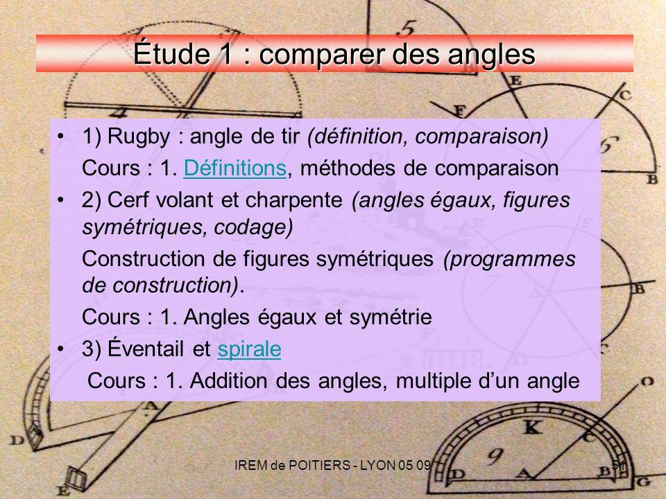 IREM de POITIERS - LYON 05 0951 Étude 1 : comparer des angles 1) Rugby : angle de tir (définition, comparaison) Cours : 1.
