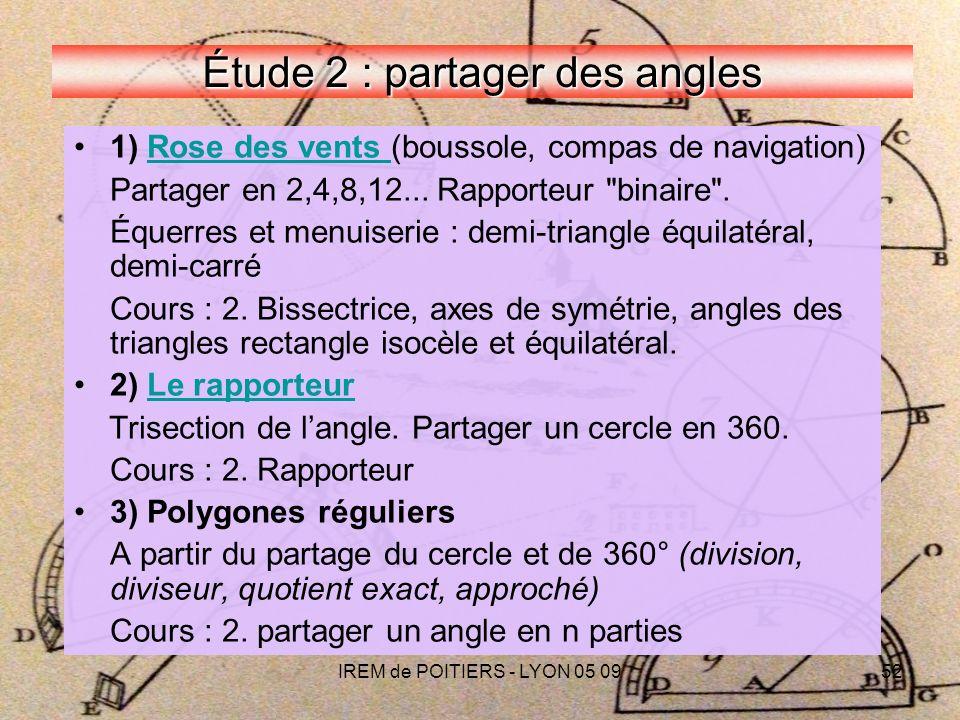 IREM de POITIERS - LYON 05 0952 Étude 2 : partager des angles 1) Rose des vents (boussole, compas de navigation)Rose des vents Partager en 2,4,8,12...