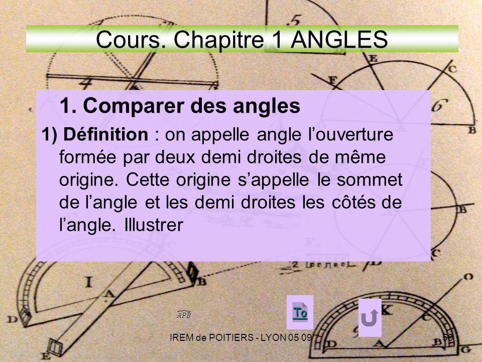 IREM de POITIERS - LYON 05 0959 Cours.Chapitre 1 ANGLES 1.