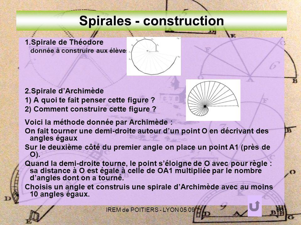IREM de POITIERS - LYON 05 0960 Spirales - construction 1.Spirale de Théodore donnée à construire aux élèves 2.Spirale dArchimède 1) A quoi te fait penser cette figure .