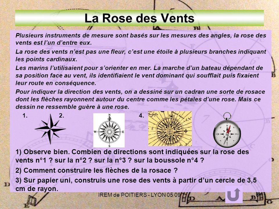 IREM de POITIERS - LYON 05 0961 La Rose des Vents Plusieurs instruments de mesure sont basés sur les mesures des angles, la rose des vents est lun dentre eux.