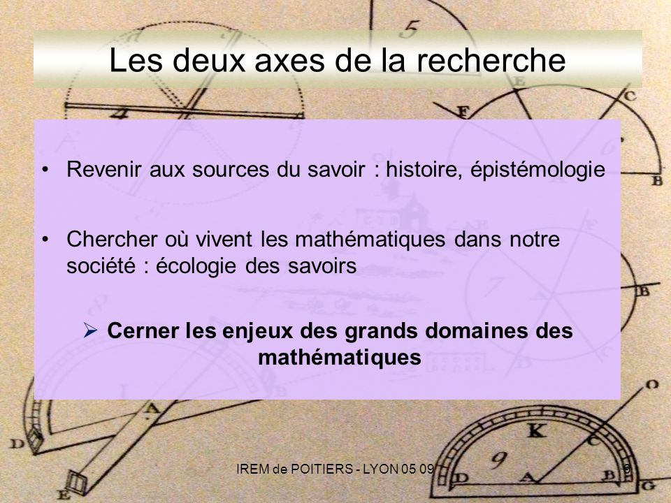 IREM de POITIERS - LYON 05 099 Les deux axes de la recherche Revenir aux sources du savoir : histoire, épistémologie Chercher où vivent les mathématiques dans notre société : écologie des savoirs Cerner les enjeux des grands domaines des mathématiques