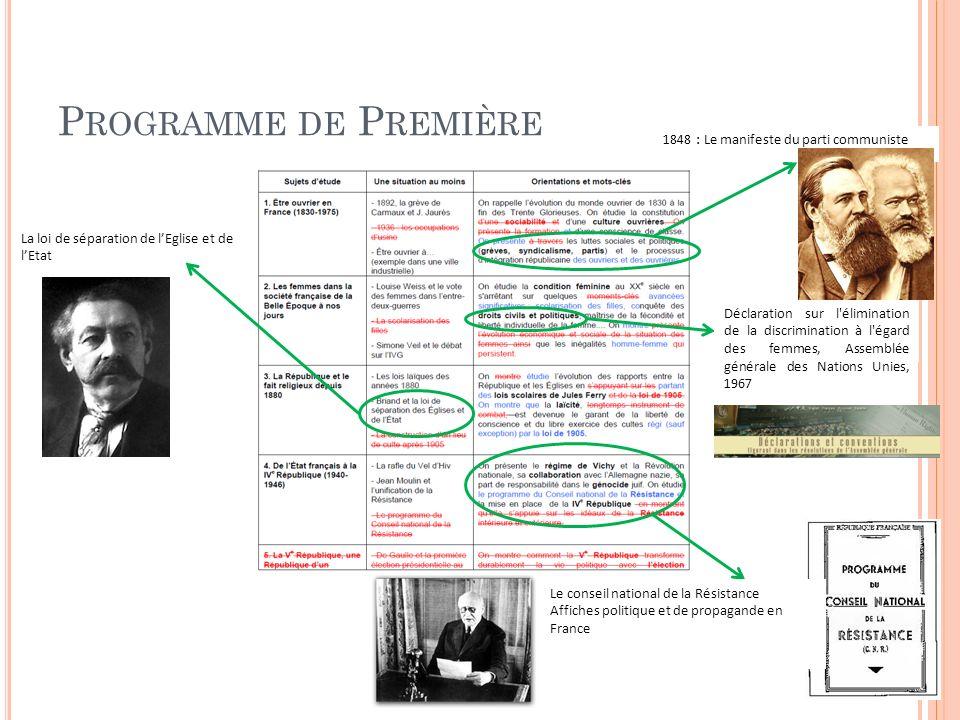 P ROGRAMME DE T ERMINALE Un témoignage sur la décolonisation : Discours de Gandhi, Quittez linde (1942) Photographie de la chute du mur Texte : Le plan Schuman Photographie : Kohl-Mitterrand et lEurope Texte : Les 14 points de Wilson