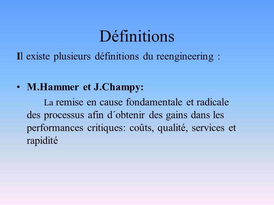 Définitions Il existe plusieurs définitions du reengineering : M.Hammer et J.Champy: La remise en cause fondamentale et radicale des processus afin d´