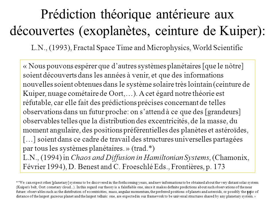 11 Prédiction théorique antérieure aux découvertes (exoplanètes, ceinture de Kuiper): « Nous pouvons espérer que dautres systèmes planétaires [que le nôtre] soient découverts dans les années à venir, et que des informations nouvelles soient obtenues dans le système solaire très lointain (ceinture de Kuiper, nuage cométaire de Oort,…).