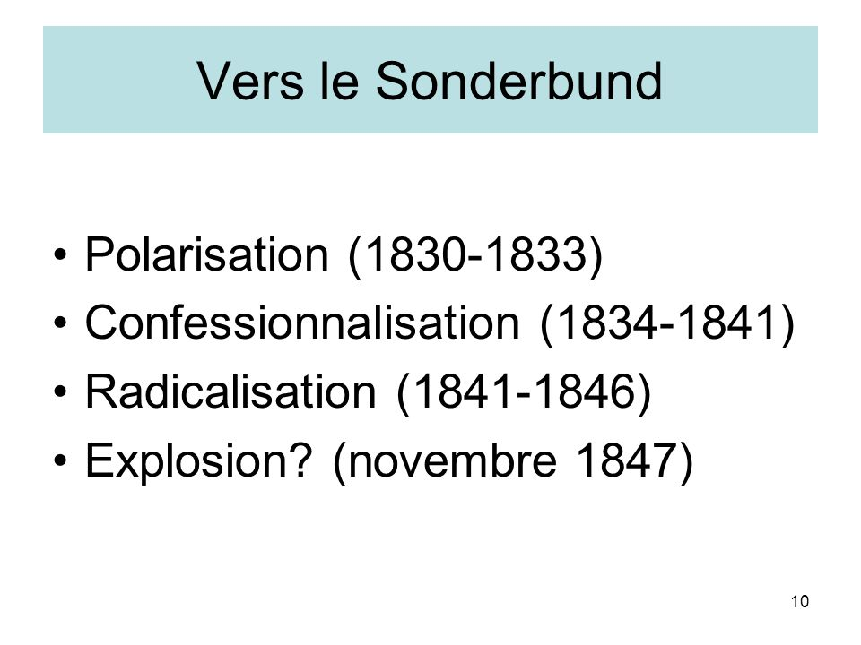 10 Vers le Sonderbund Polarisation (1830-1833) Confessionnalisation (1834-1841) Radicalisation (1841-1846) Explosion? (novembre 1847)