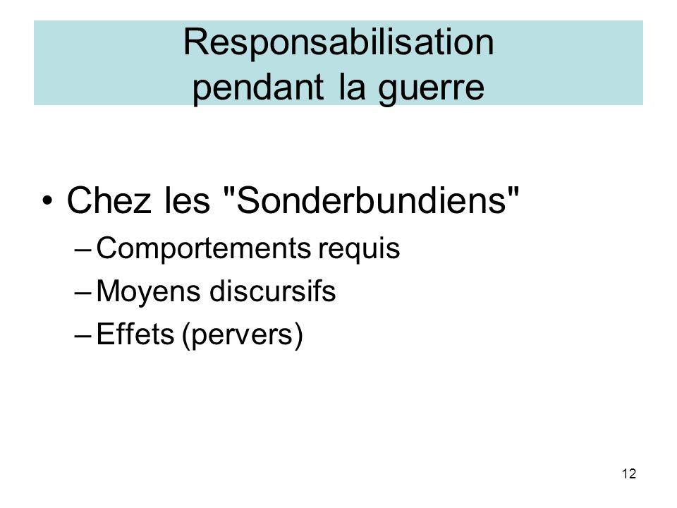 12 Responsabilisation pendant la guerre Chez les Sonderbundiens –Comportements requis –Moyens discursifs –Effets (pervers)