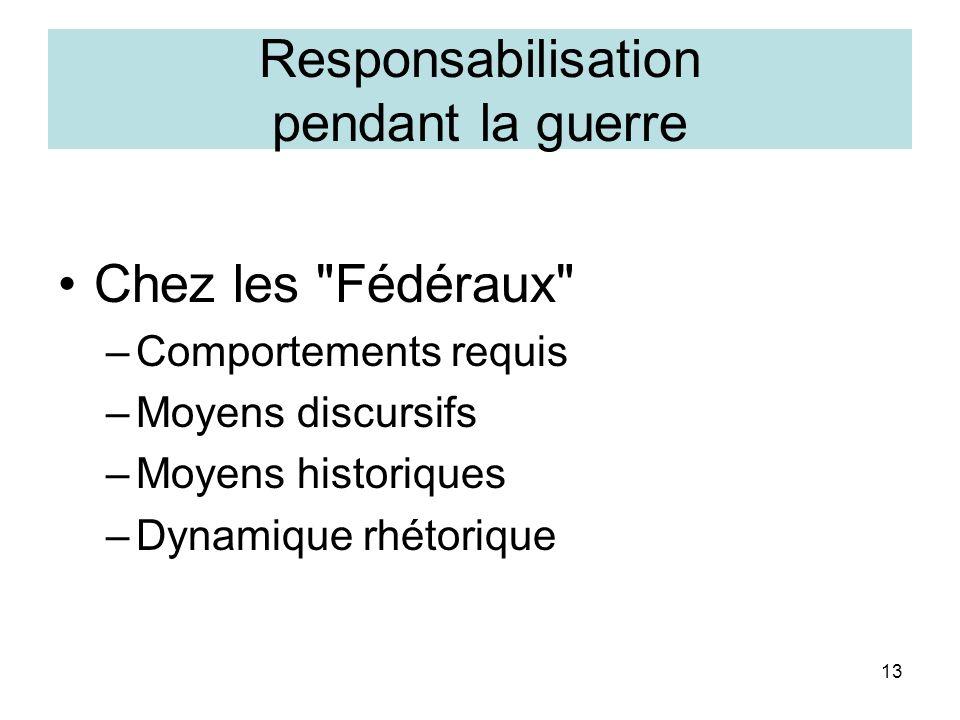 13 Responsabilisation pendant la guerre Chez les Fédéraux –Comportements requis –Moyens discursifs –Moyens historiques –Dynamique rhétorique