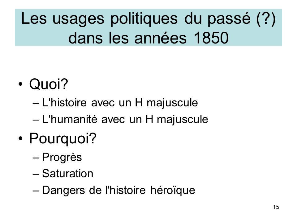 15 Les usages politiques du passé (?) dans les années 1850 Quoi? –L'histoire avec un H majuscule –L'humanité avec un H majuscule Pourquoi? –Progrès –S