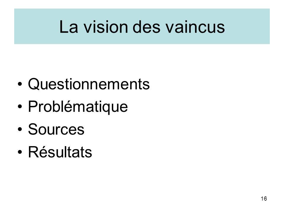 16 La vision des vaincus Questionnements Problématique Sources Résultats