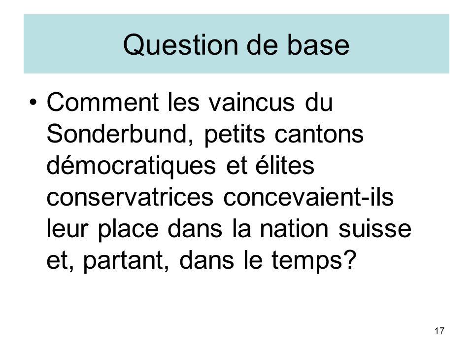 17 Question de base Comment les vaincus du Sonderbund, petits cantons démocratiques et élites conservatrices concevaient-ils leur place dans la nation suisse et, partant, dans le temps