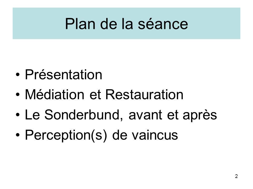 3 Quelques jalons Médiation: 1803-1813 Restauration: 1814-1830 Régénération: 1831-1847 Sonderbund: 1847 Etat fédéral: dès 1848