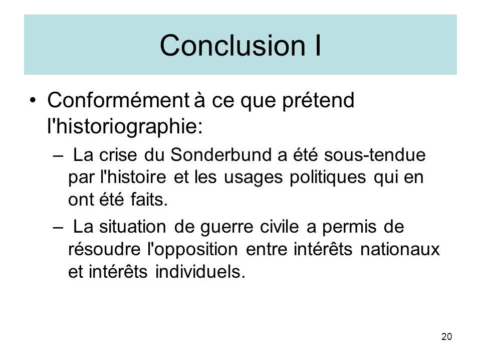 20 Conclusion I Conformément à ce que prétend l historiographie: – La crise du Sonderbund a été sous-tendue par l histoire et les usages politiques qui en ont été faits.