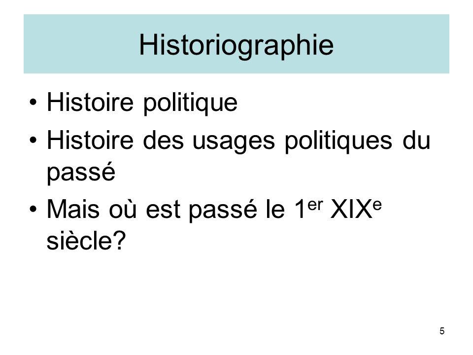 5 Historiographie Histoire politique Histoire des usages politiques du passé Mais où est passé le 1 er XIX e siècle?