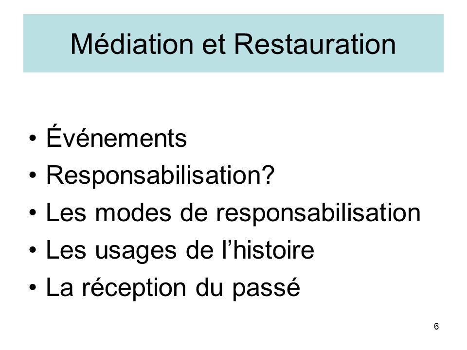 6 Médiation et Restauration Événements Responsabilisation? Les modes de responsabilisation Les usages de lhistoire La réception du passé