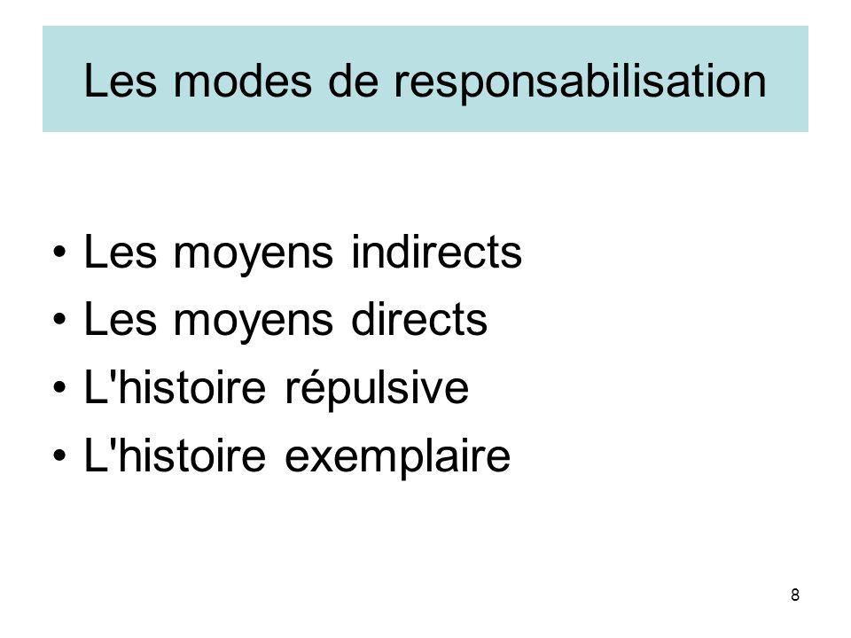8 Les modes de responsabilisation Les moyens indirects Les moyens directs L'histoire répulsive L'histoire exemplaire