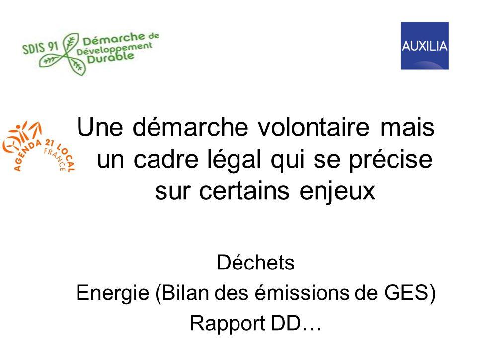 Une démarche volontaire mais un cadre légal qui se précise sur certains enjeux Déchets Energie (Bilan des émissions de GES) Rapport DD…