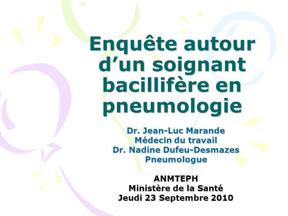 Enquête autour dun soignant bacillifère en pneumologie Dr. Jean-Luc Marande Médecin du travail Dr. Nadine Dufeu-Desmazes PneumologueANMTEPH Ministère