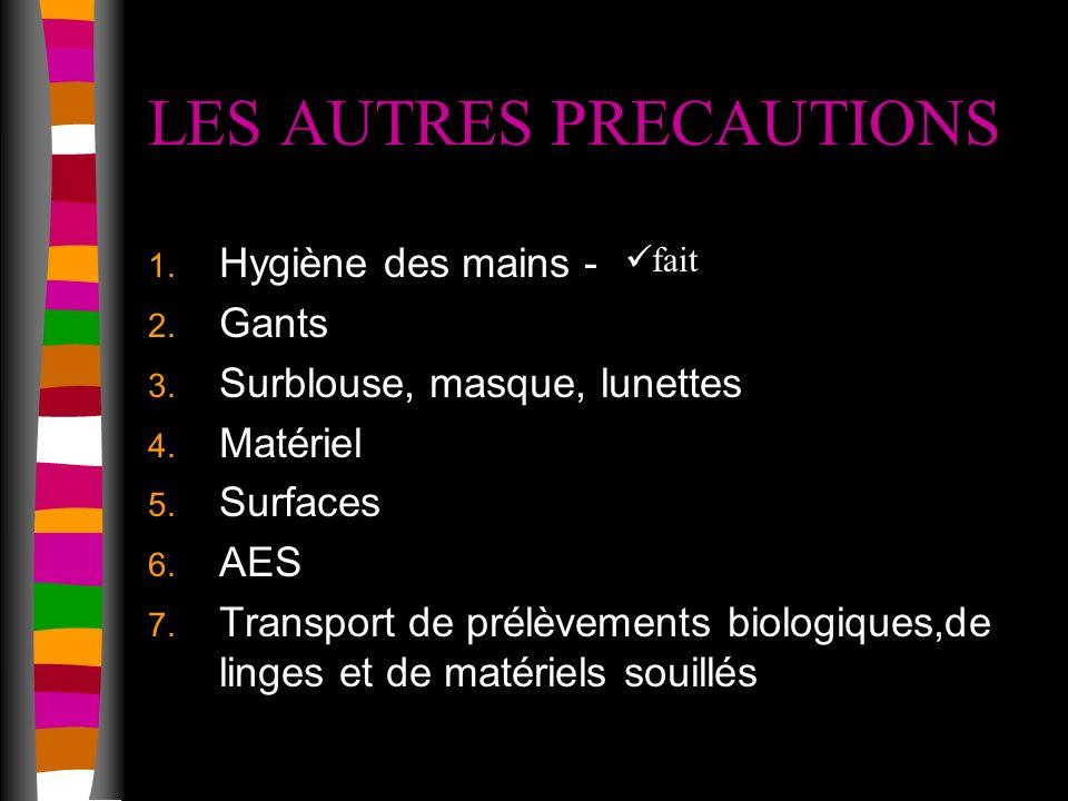 LES AUTRES PRECAUTIONS 1.Hygiène des mains - 2. Gants 3.