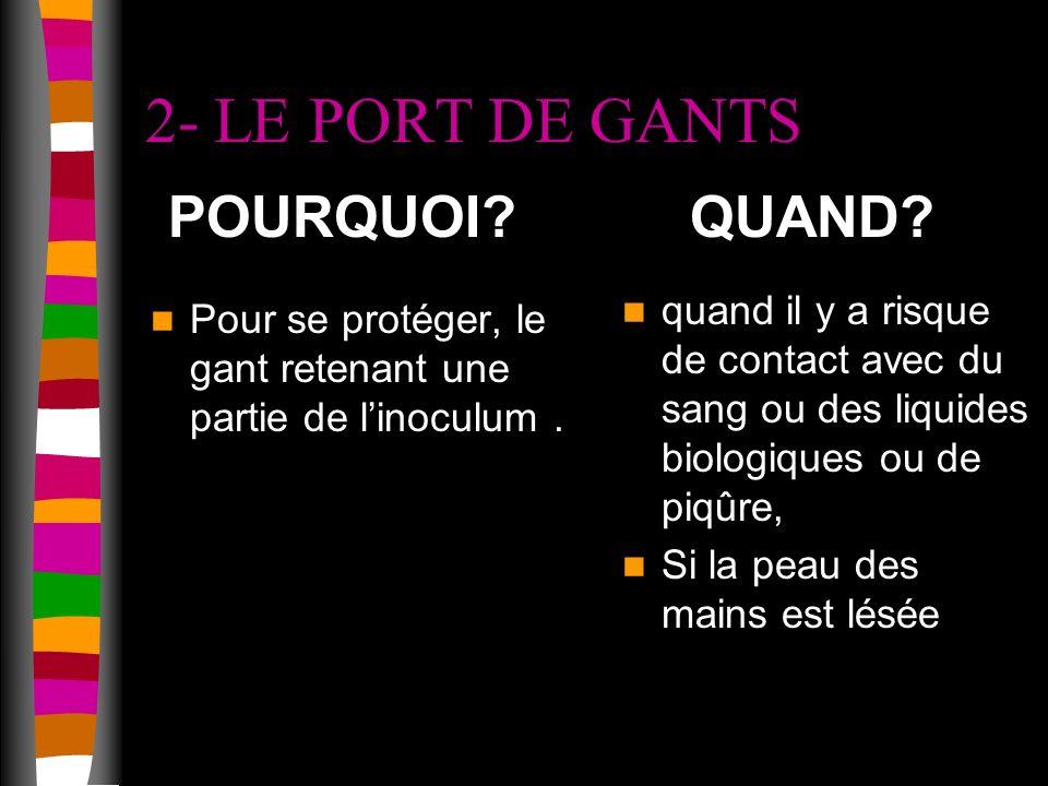 2- LE PORT DE GANTS Pour se protéger, le gant retenant une partie de linoculum.