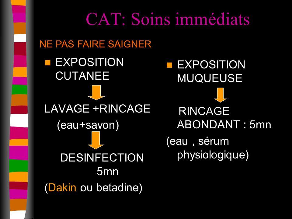 CAT: Soins immédiats EXPOSITION CUTANEE LAVAGE +RINCAGE (eau+savon) DESINFECTION 5mn (Dakin ou betadine) EXPOSITION MUQUEUSE RINCAGE ABONDANT : 5mn (eau, sérum physiologique) NE PAS FAIRE SAIGNER
