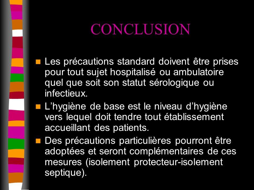 CONCLUSION Les précautions standard doivent être prises pour tout sujet hospitalisé ou ambulatoire quel que soit son statut sérologique ou infectieux.