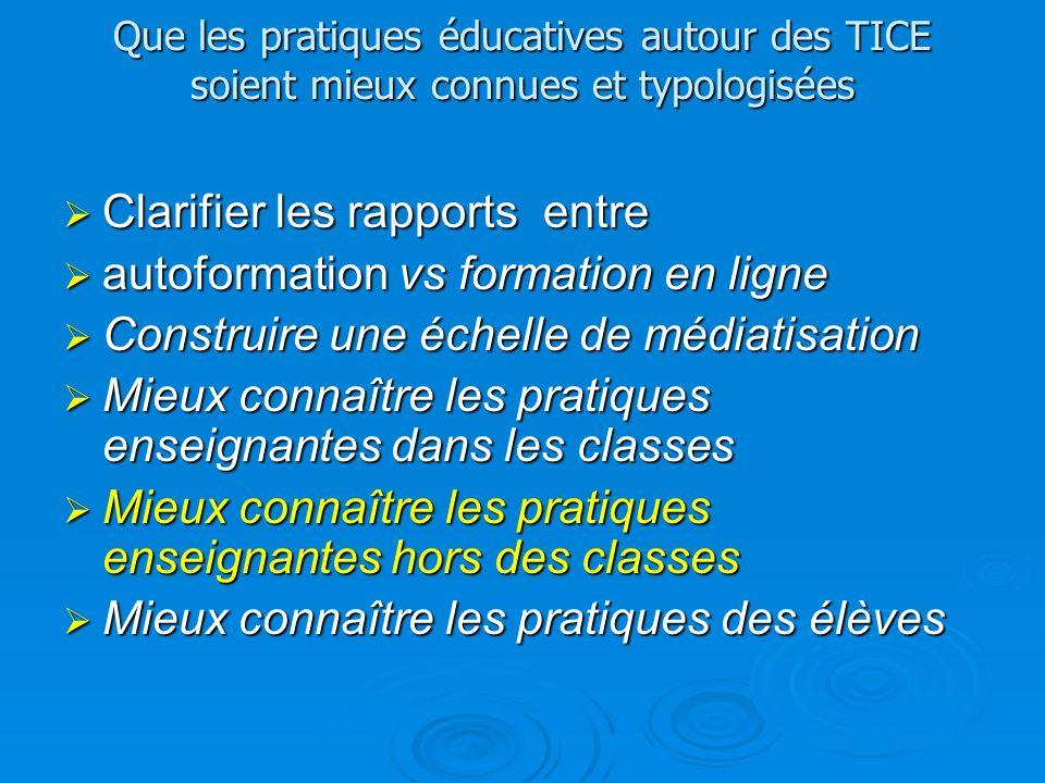 Que les pratiques éducatives autour des TICE soient mieux connues et typologisées Clarifier les rapports entre Clarifier les rapports entre autoformat