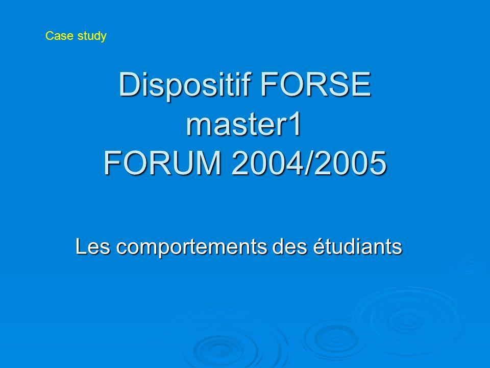 Dispositif FORSE master1 FORUM 2004/2005 Les comportements des étudiants Case study