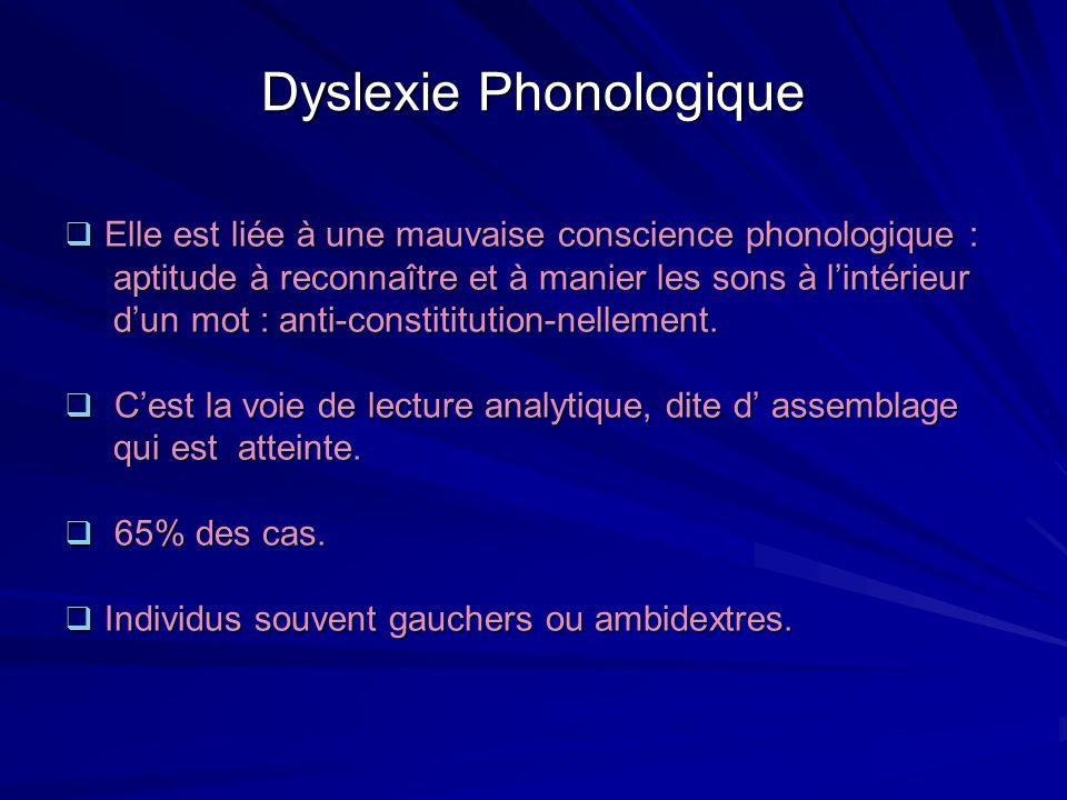 Dyslexie Phonologique Elle est liée à une mauvaise conscience phonologique : Elle est liée à une mauvaise conscience phonologique : aptitude à reconna