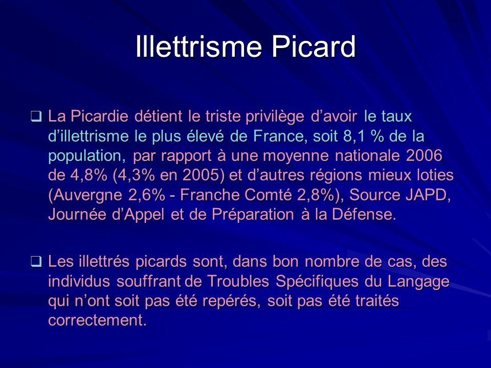 Illettrisme Picard La Picardie détient le triste privilège davoir le taux dillettrisme le plus élevé de France, soit 8,1 % de la population, par rappo
