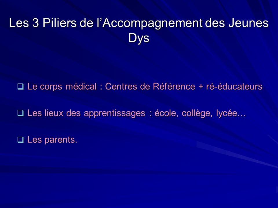 Les 3 Piliers de lAccompagnement des Jeunes Dys Le corps médical : Centres de Référence + ré-éducateurs Le corps médical : Centres de Référence + ré-é