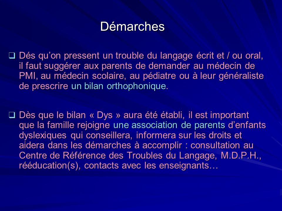 Démarches Dés quon pressent un trouble du langage écrit et / ou oral, il faut suggérer aux parents de demander au médecin de PMI, au médecin scolaire,