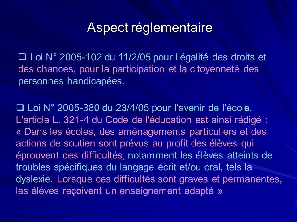 Aspect réglementaire Loi N° 2005-102 du 11/2/05 pour légalité des droits et des chances, pour la participation et la citoyenneté des personnes handica