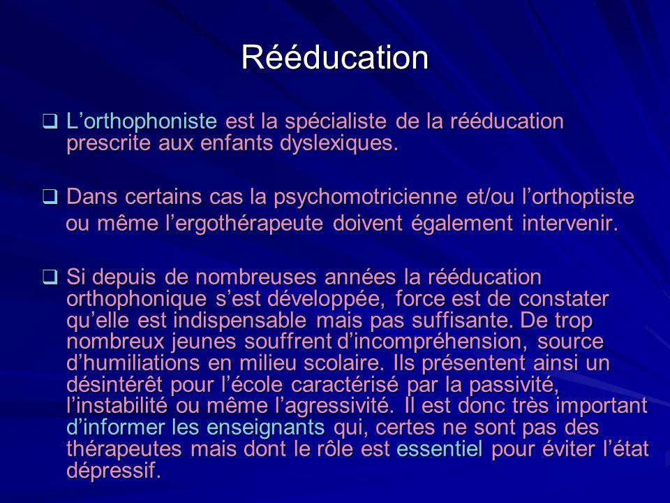 Rééducation Lorthophoniste est la spécialiste de la rééducation prescrite aux enfants dyslexiques. Lorthophoniste est la spécialiste de la rééducation