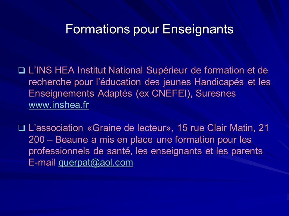 Formations pour Enseignants LINS HEA Institut National Supérieur de formation et de recherche pour léducation des jeunes Handicapés et les Enseignemen