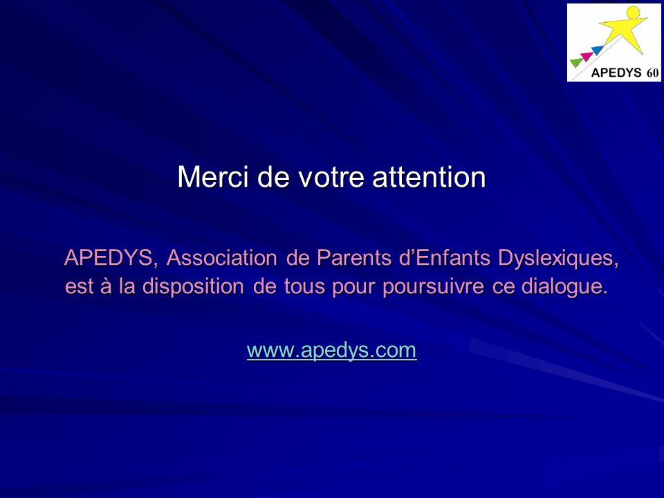 Merci de votre attention APEDYS, Association de Parents dEnfants Dyslexiques, est à la disposition de tous pour poursuivre ce dialogue. APEDYS, Associ